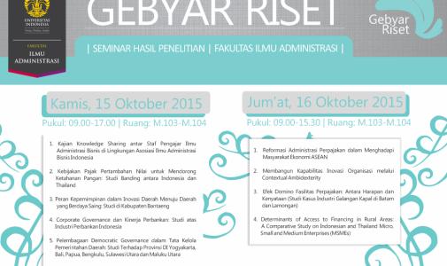 """Seminar Hasil Penelitian """"Gebyar Riset 2015″"""