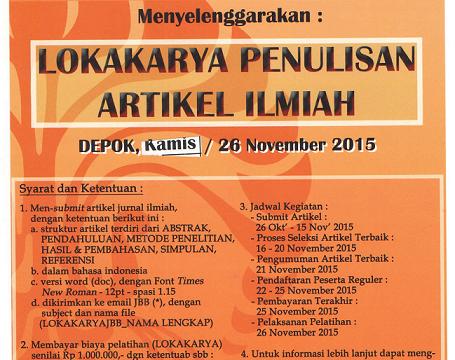 (Indonesia) Lokakarya Penulisan Jurnal Ilmiah