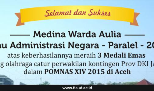 Mahasiswi Ilmu Administrasi Negara UI Raih Medali Emas dalam POMNAS XIV 2015