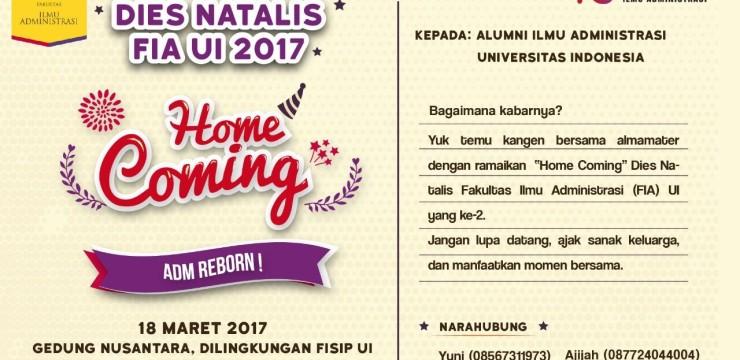 (Indonesia) Undangan Dies Natalis FIA UI yang ke-2 untuk Alumni Ilmu Administrasi UI